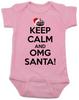 Keep Calm OMG Santa Bodysuit, Keep Calm, funny christmas baby onsie, funny christmas baby clothes, pink