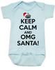 Keep Calm OMG Santa Bodysuit, Keep Calm, funny christmas baby onsie, funny christmas baby clothes, blue