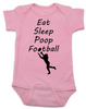 Eat sleep poop football baby Bodysuit, Funny Football Baby Onsie, Sports baby Bodysuits, daddy's football buddy baby Bodysuit, little football fan, future football fan, ready for football baby Bodysuit, pink
