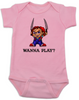 Chucky Bodysuit, Chucky Baby bodysuit, Unique Halloween baby Bodysuit, horror movie baby onsie, Chucky Wanna Play?, pink