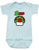 Blue 1-UP Baby Bodysuit with custom name, Super Mario Mushroom 1 up, Personalized Birthday Bodysuit, Personalized Geeky baby, Personalized Gamer Baby, Gamer Baby Birthday, Geeky Gamer Bodysuit, Video Game baby Bodysuit, 80's Baby Bodysuit