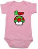 Pink 1-UP Baby Bodysuit with custom name, Super Mario Mushroom 1 up, Personalized Birthday Bodysuit, Personalized Geeky baby, Personalized Gamer Baby, Gamer Baby Birthday, Geeky Gamer Bodysuit, Video Game baby Bodysuit, 80's Baby Bodysuit