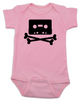 Piratebay baby Bodysuit, Internet Pirate onsie, classic cassette tape, download music, music tape, skull and crossbones, pink