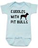 Cuddles with Pit Bulls Bodysuit, Pit Bull Love Infant bodysuit, Babies Best Friend, Love-a-bull Bodysuit, personalized dog lover Bodysuit, cute pit bull baby clothes, badass dog onsie, Pit Bull Best Friend, blue