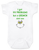 Grinch Problems Baby Bodysuit, Christmas Grinch Bodysuit, funny christmas baby clothes, Funny Christmas Bodysuit, 99 Problems, Jay-Z, The Grinch Onsie