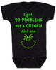Grinch Problems Baby Bodysuit, Christmas Grinch Bodysuit, funny christmas baby clothes, Funny Christmas Bodysuit, 99 Problems, Jay-Z, The Grinch Onsie, black