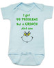 Grinch Problems Baby Bodysuit, Christmas Grinch Bodysuit, funny christmas baby clothes, Funny Christmas Bodysuit, 99 Problems, Jay-Z, The Grinch Onsie, blue