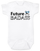 Future Badass Baby Bodysuit, skull baby onsie, personalize it with a custom name, girl