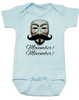 Movember baby Bodysuit, Guy Fawkes mask, V for Vendetta Onsie, No Shave November, blue