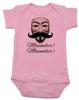 Movember baby Bodysuit, Guy Fawkes mask, V for Vendetta Onsie, No Shave November, pink