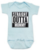 straight outta mommy baby Bodysuit, nwa baby onsie, classic hip hop music, Straight Outta Compton, gangster rap, blue