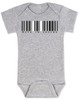Made in Vagina baby Bodysuit, barcode baby onsie, made in china, made in Vachina, grey