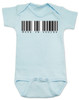 Made in Vagina baby Bodysuit, barcode baby onsie, made in china, made in Vachina. blue