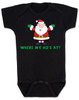 Where My Ho's At Baby Bodysuit, Ho Ho Ho baby Bodysuit, Badass Santa Claus, Offensive Christmas Bodysuit, funny holiday baby Bodysuit, funny christmas baby clothes, black