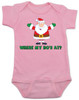 Where My Ho's At Baby Bodysuit, Ho Ho Ho baby Bodysuit, Badass Santa Claus, Offensive Christmas Bodysuit, funny holiday baby Bodysuit, funny christmas baby clothes, pink
