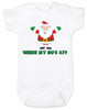 Where My Ho's At Baby Bodysuit, Ho Ho Ho baby Bodysuit, Badass Santa Claus, Offensive Christmas Bodysuit, funny holiday baby Bodysuit, funny christmas baby clothes, white