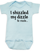 I shizzled my dizzle baby Bodysuit, snoop dog, gangsta baby, funny gangster slang onsie, blue