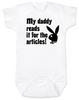 Playboy baby Bodysuit, Playboy bunny infant bodysuit, Playboy baby onsie, My Daddy Reads playboy for the articles, I read it for the articles, Funny playboy magazine baby gift