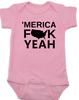Merica, America Fuck Yeah baby Bodysuit, offensive patriotic baby onsie, 4th of july, memorial day, veterans day, united states hell yeah, Merica fuck yeah, pink