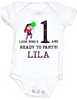 Personalized first birthday Bodysuit, custom name birthday Bodysuit, Look who's 1 and ready to party, one year old customized birthday onsie, pink/purple