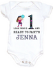 Personalized first birthday Bodysuit, custom name birthday Bodysuit, Look who's 1 and ready to party, one year old customized birthday onsie, pink/turquoise