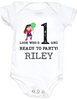 Personalized first birthday Bodysuit, custom name birthday Bodysuit, Look who's 1 and ready to party, one year old customized birthday onsie, purple/green