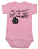 Hangry Baby Bodysuit, You wouldn't like me when I'm hangry onsie, Hungry baby, feed me now, pink