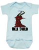Hell Child Baby Bodysuit, Wild Child, crazy baby, Little Rebel, demon spawn, devil baby, blue