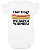 Hot Dog baby Bodysuit, we have a wiener, punniest baby award, funny hot dog onsie