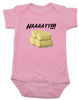 Haaaay! Baby Bodysuit, Hey Y'all, what does a gay cow say, farm humor, haaay y'all, pink