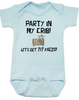 Party in my crib baby Bodysuit, Let's get tit-faced baby onsie, byob, baby party animal, blue