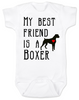 My Best Friend is a Boxer Baby Bodysuit, Boxer Puppy Love Onsie, Babies Best Friend, Fur Babies best friend, Love my doggy, personalized dog lover Bodysuit, unique baby shower gift, personalized baby birthday gift, cute I love my dog baby clothes, badass dog Bodysuit, Rescue dog, Personalized with custom