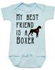 My Best Friend is a Boxer Baby Bodysuit, Boxer Puppy Love Onsie, Babies Best Friend, Fur Babies best friend, Love my doggy, personalized dog lover Bodysuit, unique baby shower gift, personalized baby birthday gift, cute I love my dog baby clothes, badass dog Bodysuit, Rescue dog, blue