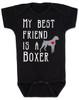 My Best Friend is a Boxer Baby Bodysuit, Boxer Puppy Love Onsie, Babies Best Friend, Fur Babies best friend, Love my doggy, personalized dog lover Bodysuit, unique baby shower gift, personalized baby birthday gift, cute I love my dog baby clothes, badass dog Bodysuit, Rescue dog, black