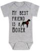 My Best Friend is a Boxer Baby Bodysuit, Boxer Puppy Love Onsie, Babies Best Friend, Fur Babies best friend, Love my doggy, personalized dog lover Bodysuit, unique baby shower gift, personalized baby birthday gift, cute I love my dog baby clothes, badass dog Bodysuit, Rescue dog, grey