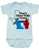 Texas Rangers Don't mess with texas Baby Bodysuit, Rougned Odor Bodysuit, Jose Bautista punch, don't mess with texas baby Bodysuit, texas rangers punch, rougned odor, jose bautista, funny baseball baby, Texas baseball punch, funny texas ranger baby Bodysuit, funny baseball onsie, baseball Bodysuit, blue