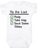 To Do List baby Bodysuit, funny breast feeding baby onsie