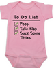 To Do List baby Bodysuit, funny breast feeding baby onsie, pink