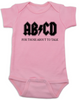 ABCD, For those about to talk, AC/DC baby Bodysuit, for those about to rock, classic rock baby onsie, band Bodysuit, pink