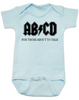 ABCD, For those about to talk, AC/DC baby Bodysuit, for those about to rock, classic rock baby onsie, band Bodysuit, blue