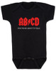 ABCD, For those about to talk, AC/DC baby Bodysuit, for those about to rock, classic rock baby onsie, band Bodysuit, black