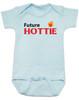 Future Hottie Baby Bodysuit, Little Cutie, Future Stud, Future Supermodel, Very Attractive baby onsie, blue