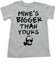 Mine's bigger than yours toddler shirt, vulgar toddler t-shirt, mines bigger toddler t-shirt, vulgar baby shirt, funny offensive toddler shirt, grey