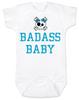 Badass Baby Bodysuit, Personalized badass baby girl onsie, cool kid baby shower gift, punk rock baby bodysuit with Skull and crossbones