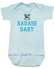 Badass Baby Bodysuit, Personalized badass baby boy or baby girl onsie, cool kid baby shower gift, punk rock baby bodysuit with Skull and crossbones, blue