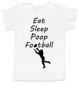 Eat sleep poop football toddler shirt, Funny Football toddler t-shirt, Sports toddler shirts, personalized football toddler shirt, white