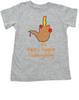 Hand Turkey toddler shirt, Happy Flippin Thanksgiving, Funny Thanksgiving toddler shirt, funny turkey shirt for kid, grey