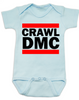 Crawl DMC baby Bodysuit, Run DMC baby clothes blue