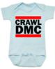 Crawl DMC baby Bodysuit, Run DMC baby clothes blue