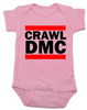 Crawl DMC baby Bodysuit, Run DMC baby clothes pink